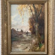 """Walter J Morby 1860-1911. British. Oil on canvas. """"Riding Down a Country Lane"""". Signed."""