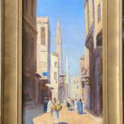 """Paul Canfield Smyth 1888-1963. British. Oil on board. """"A Street View in Cairo"""". Signed."""