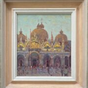 """Ken Howard b1932 (Attributed to). British. Oil on canvas. """"Satan Marco Venice"""". Signed with initials"""