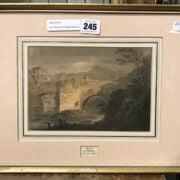 FRAMED WATERCOLOUR PAINTING BY WILLIAM PAYNE BRIDGE NEAR CASTLE BRECON BRITISH 1776-1830