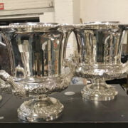 PAIR SILVER PLATE WINE COOLERS & LINERS