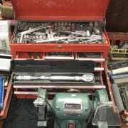 RED TOOL BOX & CONTENTS & BENCH GRINDER