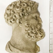 EARLY MARBLE HEAD PLAQUE, RECOVERED IN THE 1950s BY ROYAL NAVY DIVER FROM THE SEA
