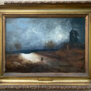 """Georges Michel 1763-1843. French. Oil on substantial panel. """"Landscape with a Figure and Windmill"""". Signed lower right. Provenance label for LE GARDE MEUBLE PUBLIC/18 Rue St Augustin/BEDEL  CIE numbered 14294. Measures 33cm x 47cm Condition Report – Very good condition for age. High quality panel with great patina. Signature does not fluoresce under black light."""