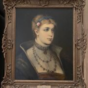 JOSEF KINZEL 1852-1925, AUSTRIAN, OIL ON CANVAS - PORTRAIT OF LADY WEARING JEWELLERY WITH ROSE IN HER HAIR, SIGNED 43CM X 52CM - HAS BEEN RE-LINED, VERY PRESENTABLE CONDITION