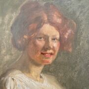 CIRCLE OF DAME LAURA KNIGHT 1877-1970 OIL ON CANVAS - PORTRAIT OF LADY WITH A SHAWL- INSCRIBED ON REVERSE 71CM  X 91CM - ORIGINAL CONDITION, NO OBVIOUS SIGNS OF RESTORATION