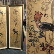 PAIR OF LARGE RECTANGULAR GILT FRAMED ORNITHOLOGICAL PRINTS - 208 X 70CMS