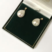 9CT GOLD LARGE SOUTH SEA PEARL DROP STUD EARRINGS