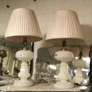 PAIR OF WHITE GLASS TABLE LAMPS - 35CMS