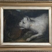 EARLY19THC ENGLISH SCHOOL - PORTRAIT OF A WHITE TERRIER, OIL ON CANVAS LAID...