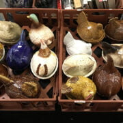 LARGE QTY OF VARIOUS CERAMIC EGG HOLDERS