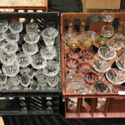 TWO TRAYS OF CRYSTAL GLASS & OTHER GLASS