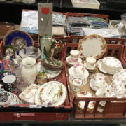 COLLECTION OF CHINA, GLASS, BRIC A BRAC WITH ORIENTAL ITEMS