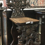 CARVED OAK HALL CHAIR