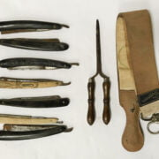 COLLECTION OF COLLECTABLE BARBERS EQUIPMENT INCL. CUT THROAT RAZORS