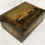 TUNBRIDGE WARE TRINITY HOUSE SEWING BOX WITH INLAID SHIPS DEPICTION CIRCA L...