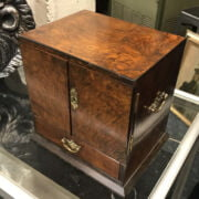 EARLY WALNUT VENEER TOBACCO CABINET / SMOKERS CABINET