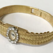 LADIES 18CT GOLD PIAGET DIAMOND BEZEL WRISTWATCH