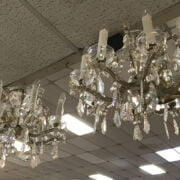 PAIR OF GLASS & CRYSTAL CHANDELIERS
