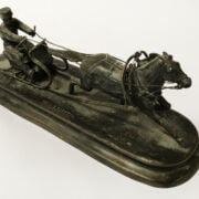 RUSSIAN BRONZE SLEIGH RIDER - SIGNED - 23CMS