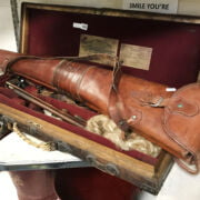 DOUBLE GUN HOLDER & LEATHER GUN CASE - WILLIAM POWELL & SONS - BIRMINGHAM