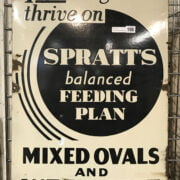 EARLY ENAMEL TRADE SIGN FOR SPRATTS DOG FOOD