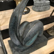 SIGNED BRONZE ABSTRACT SCULPTURE - 40CMS