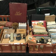 TWO TRAYS OF POSTCARDS / CIGARETTE CARDS & INTERESTING ITEMS