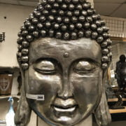 SILVER COLOUR WALL BUDDHA PLAQUE - 58CMS
