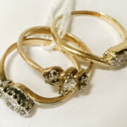 THREE 18CT GOLD RINGS WITH DIAMONDS