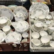 TWO TRAYS OF ROYAL ALBERT SILVER MAPLE CHINA