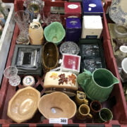 COLLECTION OF VARIOUS CRYSTAL INCL. CHIPPED WATERFORD CLOCK & COLLECTORS SY...