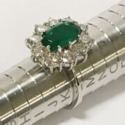 DIAMOND & NATURAL EMERALD RING - SIZE K