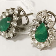 PAIR OF DIAMOND & NATURAL EMERALD EARRINGS IN WHITE GOLD