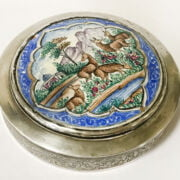 PERSIAN SILVER LIDDED SNUFF BOX, ENAMELLED TOP WITH A SILVER STAMP BOX & SI...