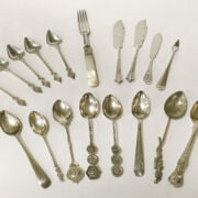 COLLECTION OF SILVER SPOONS / KNIVES