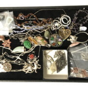 TRAY OF COSTUME JEWELLERY - MOSTLY SILVER CONTENT