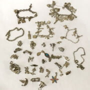 THREE SILVER CHARM BRACELETS & LOOSE CHARMS - 218 GRAMS