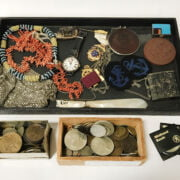 INTERESTING ITEMS INCL. COINS, TWO CORAL NECKLACES, GOLD STUDS ETC