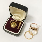 TWO 22CT WEDDING BANDS & 9CT GOLD RING & A TIE PIN