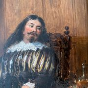 WILLIAM HENRY HAINES 1812-1884 OIL ON BOARD - CROMWELLIAN FIGURE AND HIS DO...