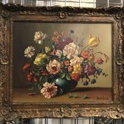 JAMES NORTH SIGNED OIL ON CANVAS - FLOWERS
