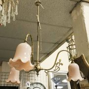 CHRISTOPHER WRAY ART NOUVEAU STYLE THREE BRANCH BRASS LIGHTS IN GOOD CONDIT...