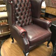 CHESTERFIELD WINGBACK ARMCHAIR WITH A SMALL TEAR