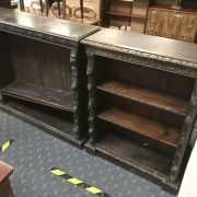 2 HAND CARVED BOOKCASES