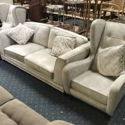 ASHLEY MANOR ANDREAUS 3 SEATER HIGH GREY SOFA & 2 CHAIRS - EX DEMO