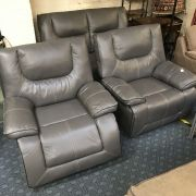 ELECTRIC 2 SEATER SOFAS & 2 ARMCHAIRS IN ASHLEY MANOR GREY LEATHER - EX DEM...
