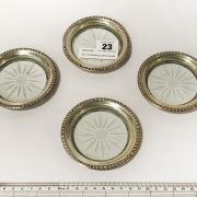 SET 4 STERLING SILVER & GLASS COASTERS - EACH 9.5CMS