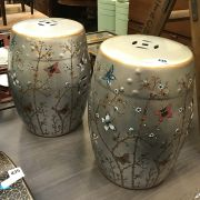 PAIR OF PORCELAIN BUTTERFLY BARREL STOOLS - 46 CMS HEIGHT