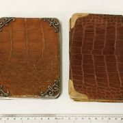 TWO LEATHER POUCHES - 9CT GOLD & SILVER